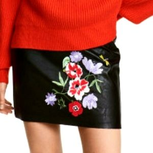 H&M Black Faux Leather Mini Skirt with Flowers